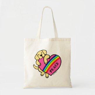 黄色いラブラドールの虹のハート キャンバスバッグ