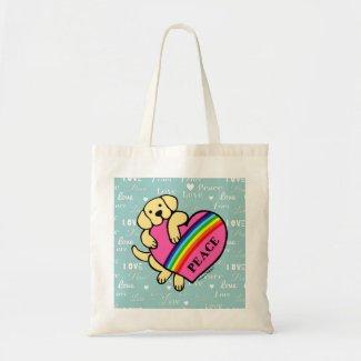 黄色いラブラドールの虹のハート バッグ