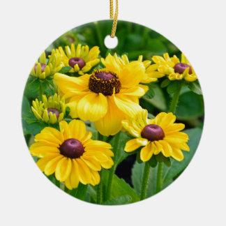 黄色いルドベキアの花園 セラミックオーナメント