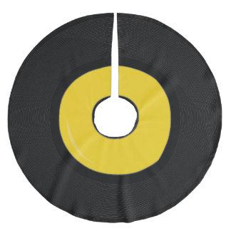 黄色いレトロのレコードディスク木のスカート ブラッシュドポリエステルツリースカート