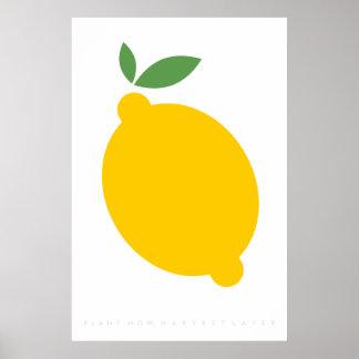 黄色いレモンレトロポスター60年代の70年代の引用文 ポスター