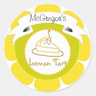 黄色いレモン鋭いパイラベル ラウンドシール