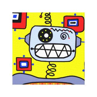 黄色いロボットポートレート キャンバスプリント
