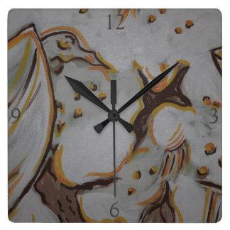 黄色いワシ スクエア壁時計