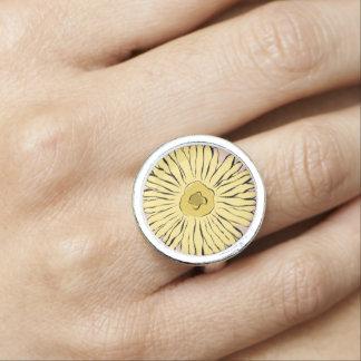 黄色いヴィンテージの抽象芸術のヒマワリ 指輪