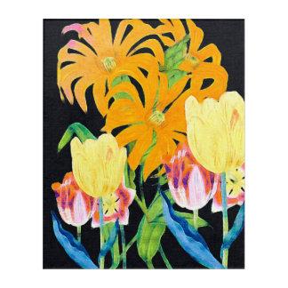 黄色いヴィンテージの植物のチューリップ アクリルウォールアート
