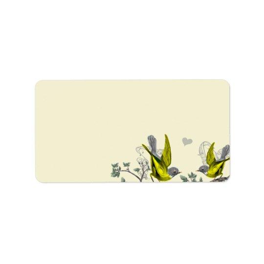 黄色いヴィンテージの鳥及び灰色はフェルトを分類します 宛名ラベル