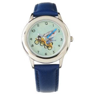 黄色いヴィンテージモンスター車 腕時計