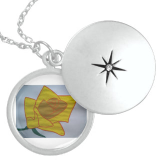黄色い中型の純銀製の円形のロケット スターリングシルバーネックレス