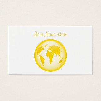 黄色い光沢のある地球、ここのあなたの名前 名刺