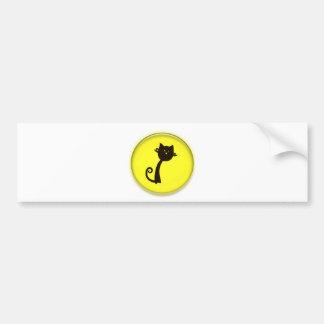 黄色い円のかわいい黒猫 バンパーステッカー