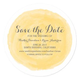 黄色い円形の水彩画の保存日付の招待 13.3 スクエアインビテーションカード