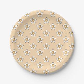 """黄色い分野9""""の白い花紙皿 ペーパープレート"""