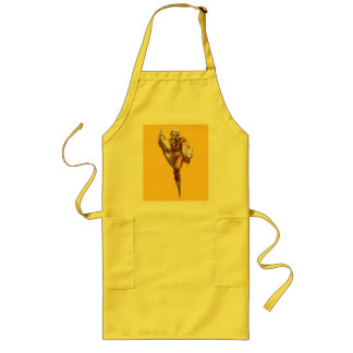 黄色い台所操り人形の人形 ロングエプロン