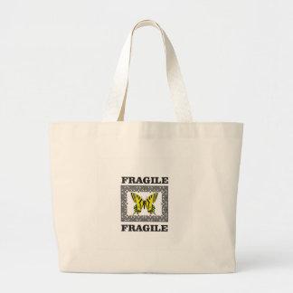 黄色い壊れやすい ラージトートバッグ