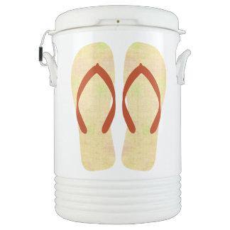 黄色い夏のビーチのパーティのビーチサンダルの飲み物のクーラー ドリンククーラー