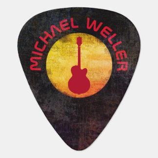 黄色い太陽及び赤ギターの加え名前 ギターピック