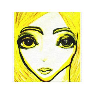 黄色い女の子12x12 1.5のキャンバスのプリント キャンバスプリント