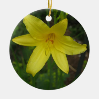 黄色い小型Dayliliy -写真の閉めて下さい セラミックオーナメント