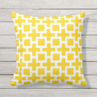 黄色い屋外の枕正方形の格子垣 クッション