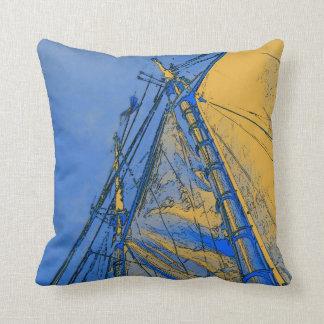 黄色い帆@海、枕 クッション