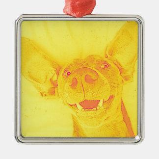 黄色い微笑の小犬 メタルオーナメント