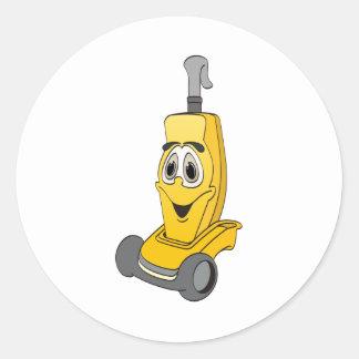 黄色い掃除機 丸形シールステッカー