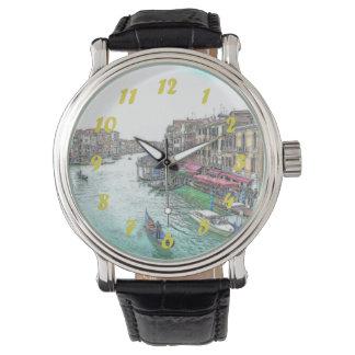 黄色い数字の美しいベニスイタリア 腕時計