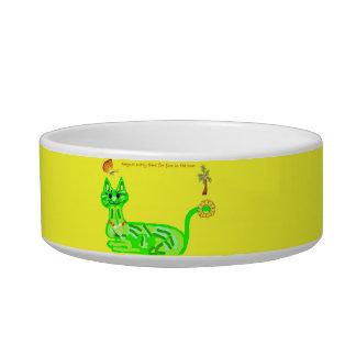 黄色い日光のペットフードボールの芸術の子猫 ボウル