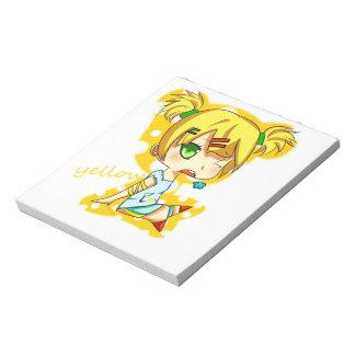 黄色い日本製アニメのメモ帳 ノートパッド