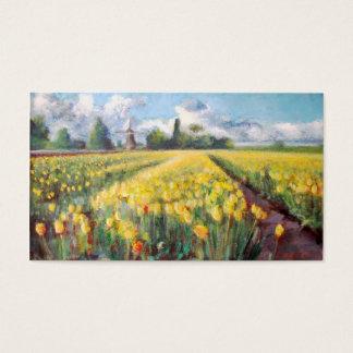 黄色い春のチューリップの花の印象派の芸術 名刺