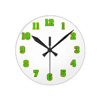 黄色い時計のテンプレートの緑 ラウンド壁時計