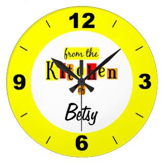 黄色い時計の台所からのカスタム ラージ壁時計