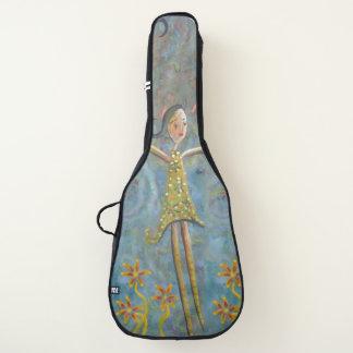 黄色い服のギターの箱の女の子 ギターケース