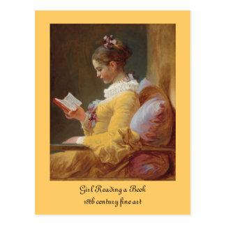 黄色い服の読者のフランスのな女の子 ポストカード