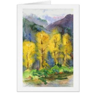 黄色い木、山、嵐、生命は改良します カード