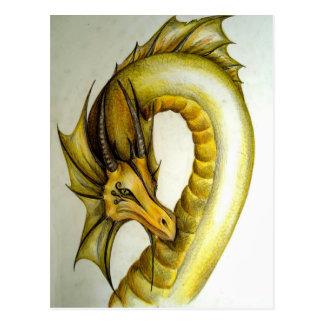 黄色い東洋のドラゴン ポストカード