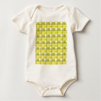 黄色い格子縞パターン ベビーボディスーツ