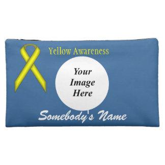 黄色い標準的なリボンのテンプレート コスメティックバッグ