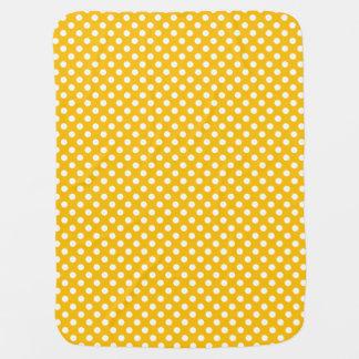 黄色い水玉模様か白いリバーシブル ベビー ブランケット