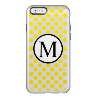 黄色い水玉模様が付いているシンプルなモノグラム INCIPIO FEATHER SHINE iPhone 6ケース