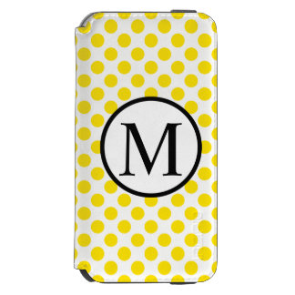 黄色い水玉模様が付いているシンプルなモノグラム INCIPIO WATSON™ iPhone 6 ウォレットケース
