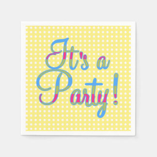 黄色い水玉模様それはパーティ、パーティのナプキンです スタンダードカクテルナプキン