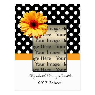 黄色い水玉模様のデイジーの写真の卒業の招待状 ポストカード