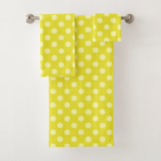 黄色い水玉模様タオルセット バスタオルセット