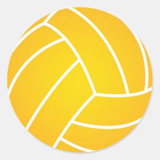 黄色い水球の球のステッカー ラウンドシール