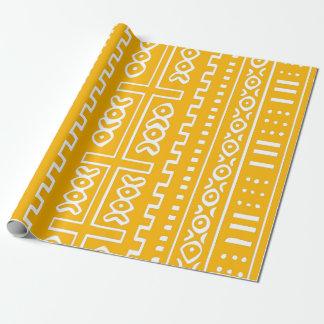 黄色い泥の布パターン ラッピングペーパー