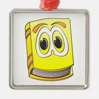 黄色い漫画の本 シルバーカラー正方形オーナメント