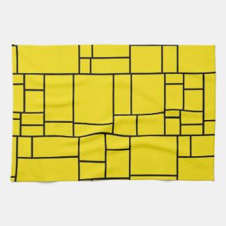 黄色い漫画の石のタイルパターン キッチンタオル