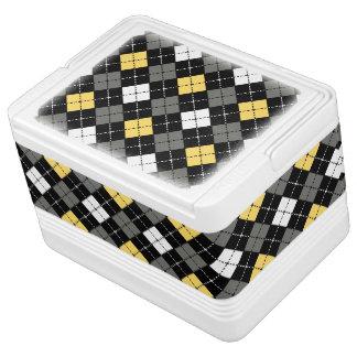 黄色い灰色および白くアーガイル柄のなパターン IGLOOクーラーボックス